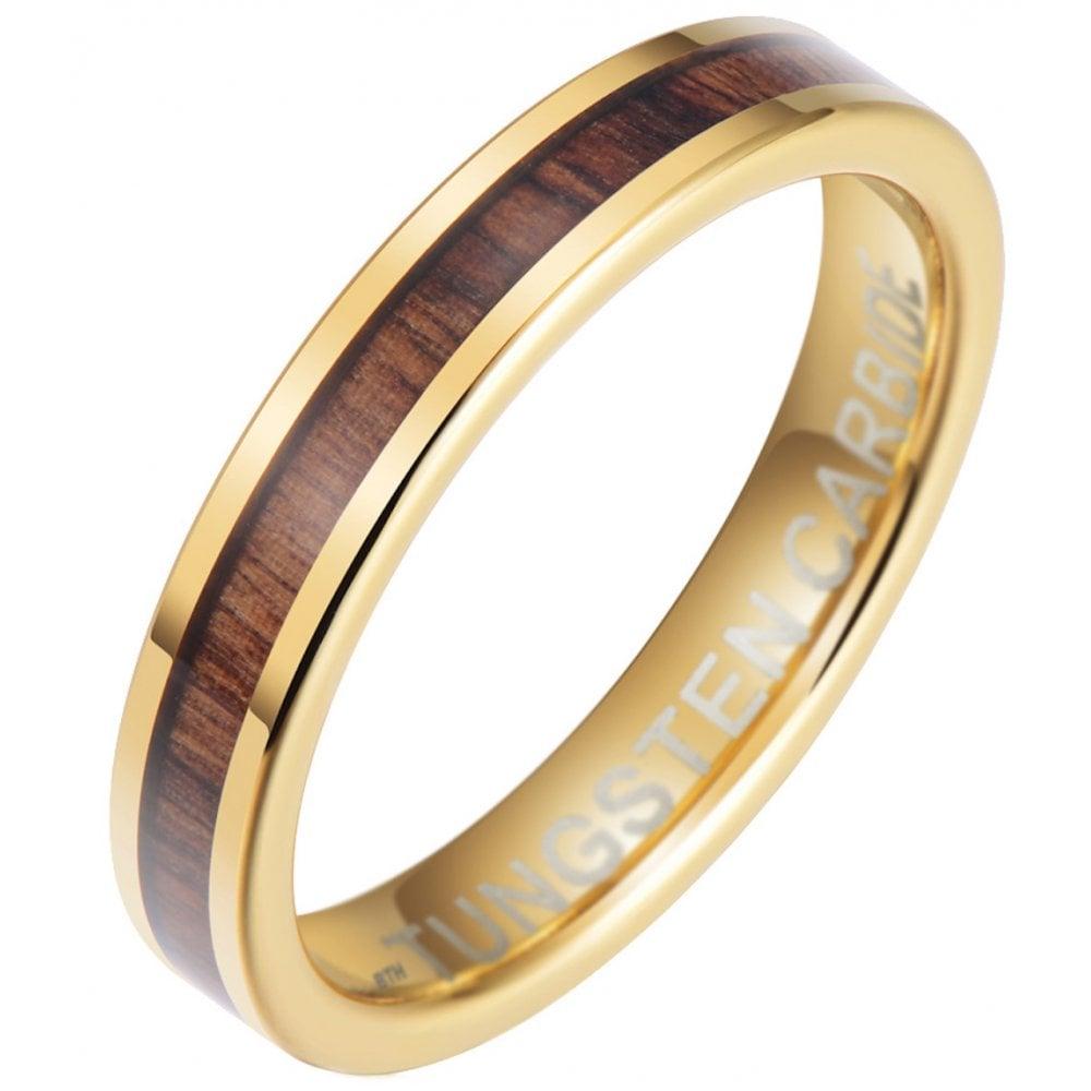 Wood Wedding Band.Unisex 4mm Tungsten Carbide Koa Wood Wedding Band Eternity Ring