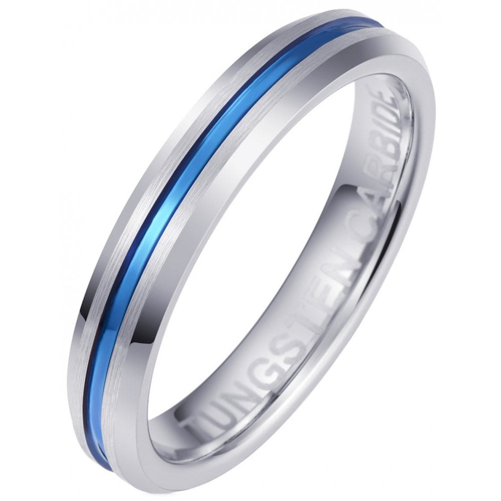 Unisex Blue Tungsten Carbide Engagement 4MM Wedding Band Eternity Ring