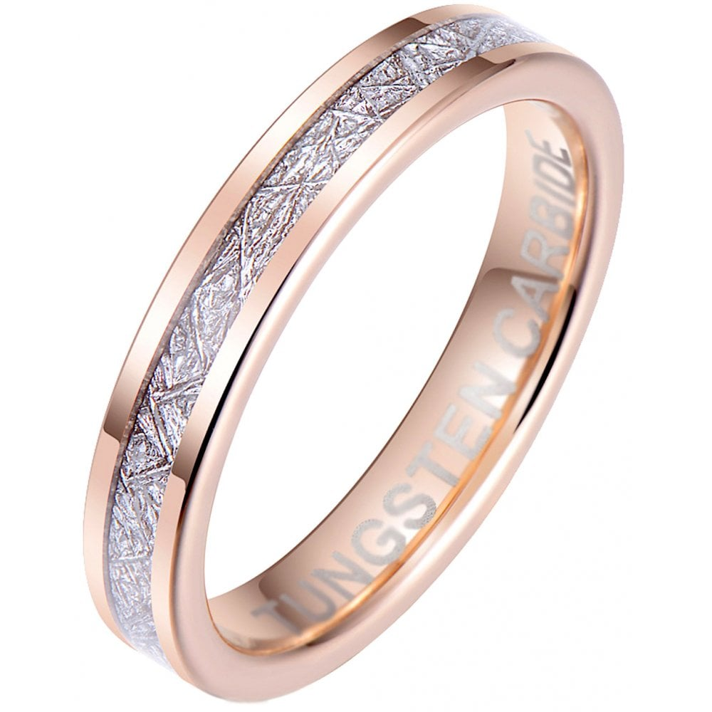It is a photo of Unisex /Ladies 42mm Rose Gold Tone Tungsten & Meteorite Wedding Band