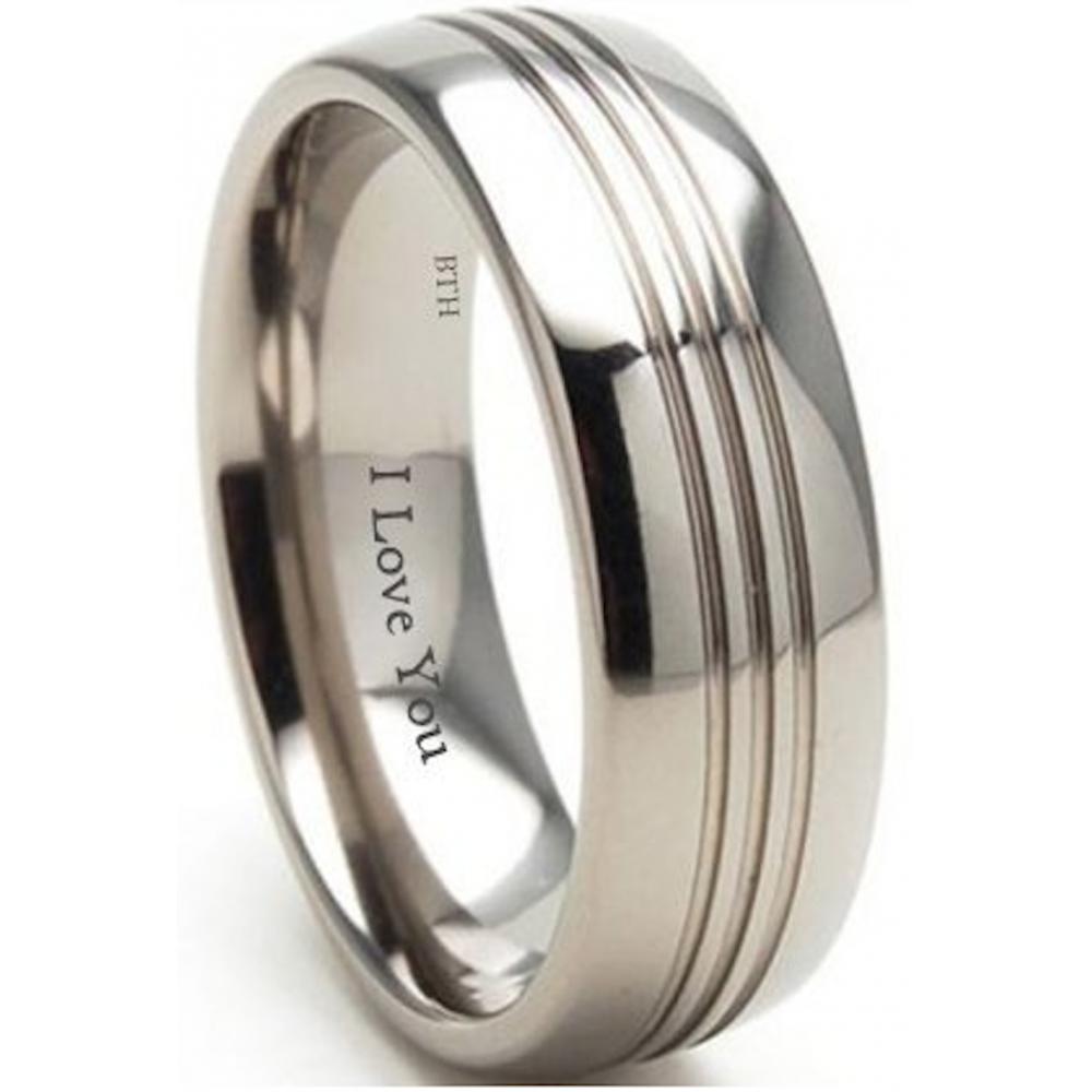 Unisex 8mm Engraved I Love You Titanium Engagement Wedding Band