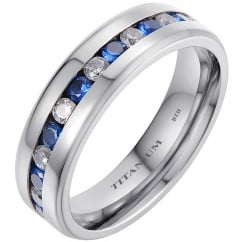 Unisex Titanium Wedding Band Ring With Blue Sapphire Cubic Zirconia