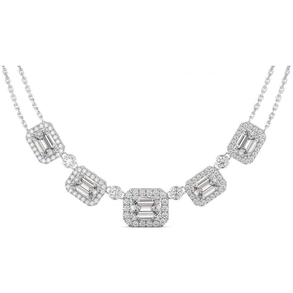 914449ceba139 Vintage Allure Sterling Silver Pendant Necklace with Emerald Cut CZ