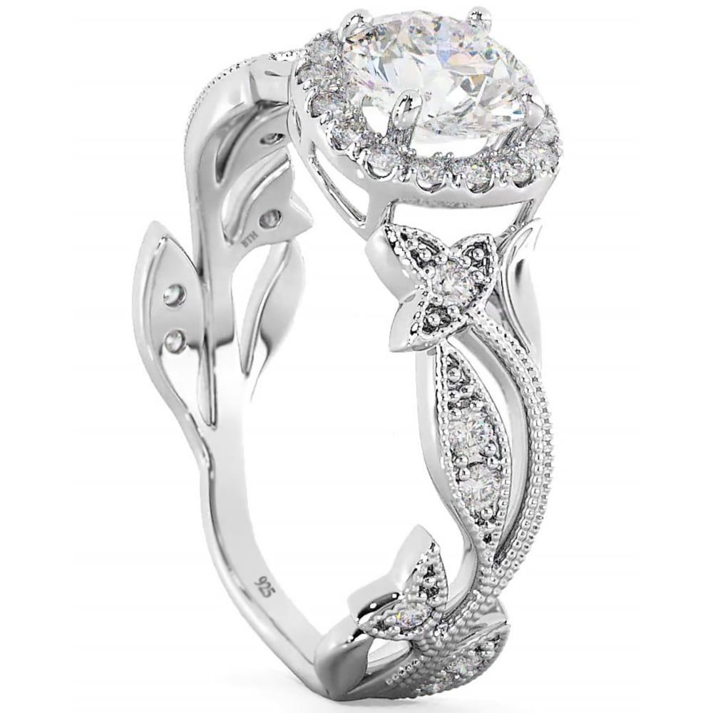 Leaf And Vine Engagement Ring Diamond